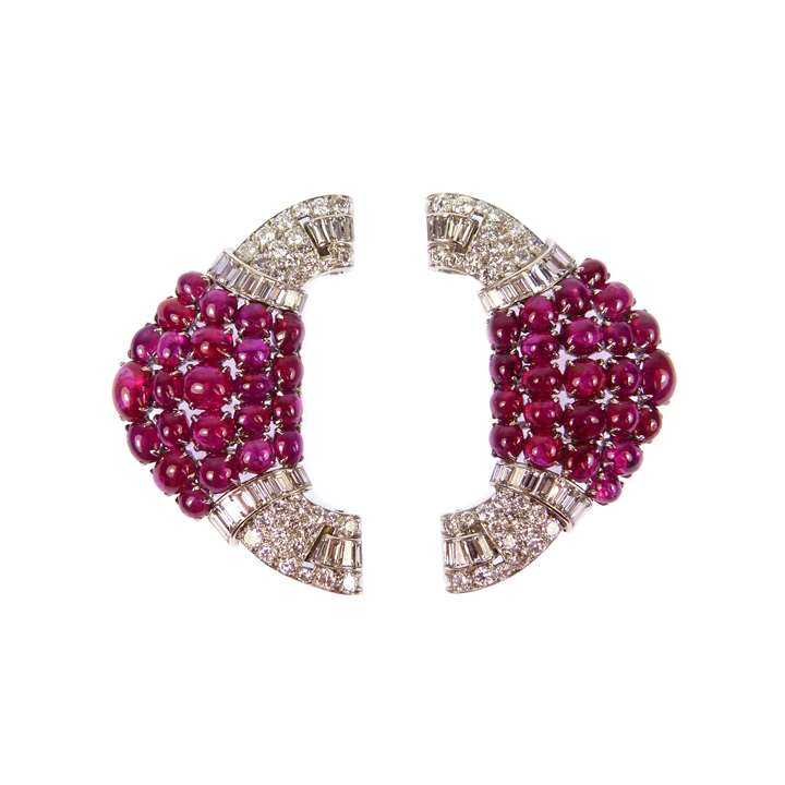 Pair of Art Deco ruby and diamond cluster double clip brooches