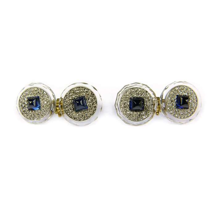 Pair of Art Deco sapphire and rock crystal round panel cufflinks