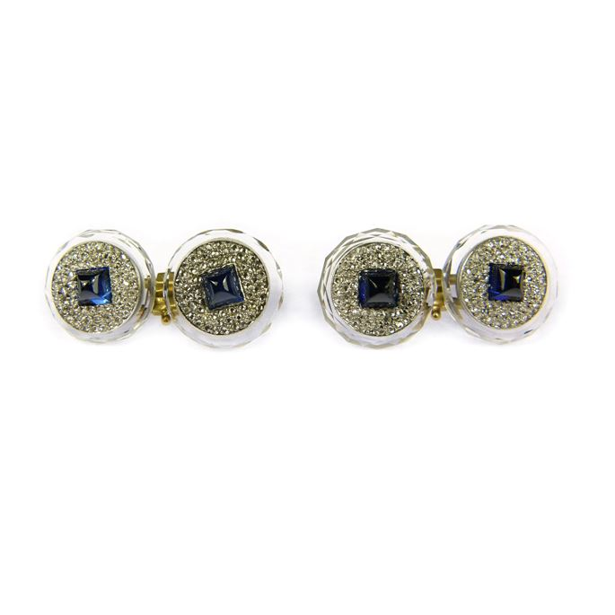 Cartier - Pair of Art Deco sapphire and rock crystal round panel cufflinks | MasterArt