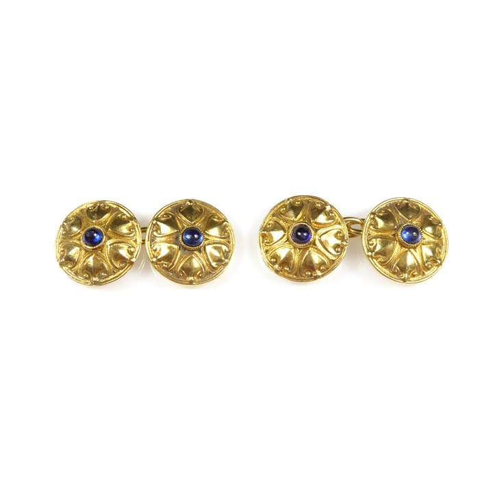 Pair of Art Nouveau 18ct gold and cabochon sapphire cufflinks