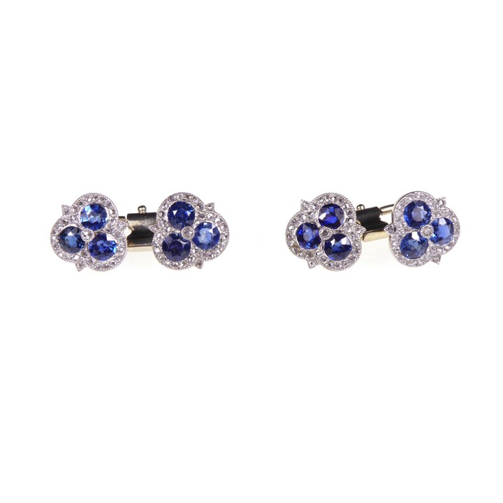 Pair of Belle epoque sapphire and diamond trefoil cluster cufflinks