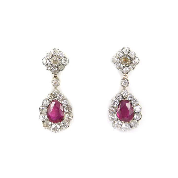 Pair of Burma ruby drop and diamond cluster pendant earrings