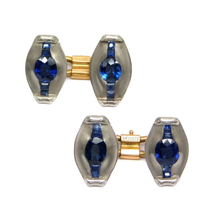 Pair of French platinum and sapphire cufflinks