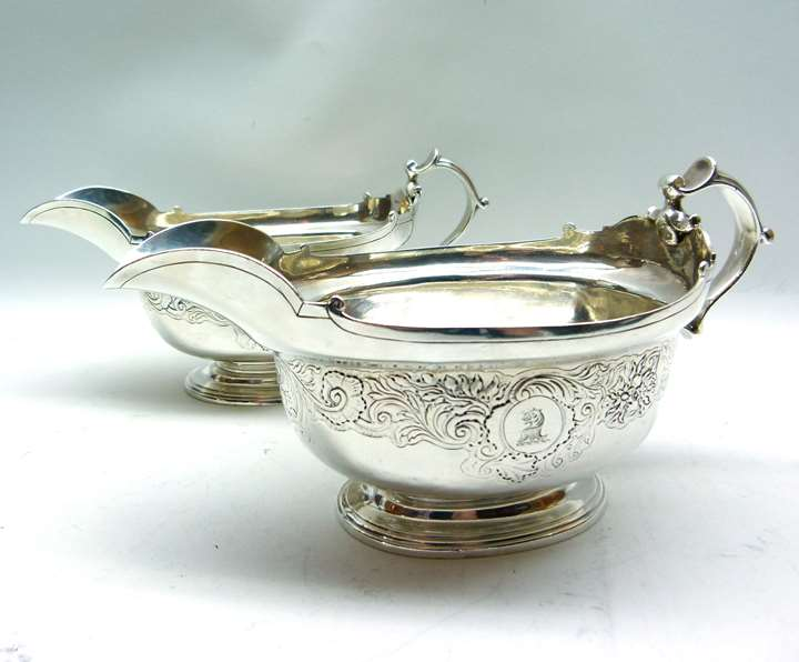 Pair of George II silver sauceboats