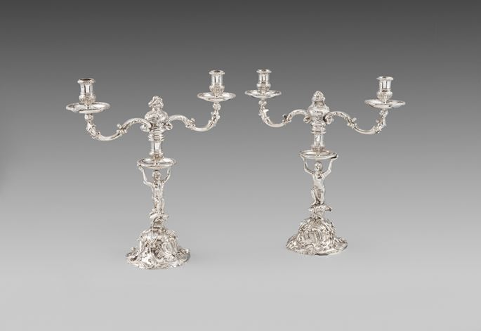 Pair of George II silver two-light candelabra | MasterArt
