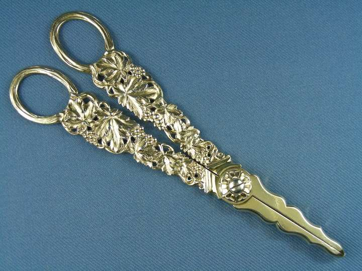 Pair of George IV silver gilt grape scissors by John Reily