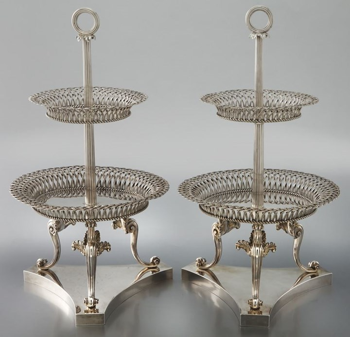 Pair of George IV silver two-tier dessert stands