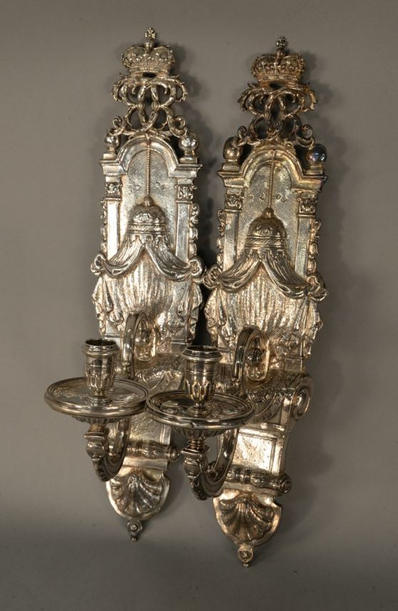 Pair of Queen Anne silver wall sconces by Anthony Nelme | MasterArt