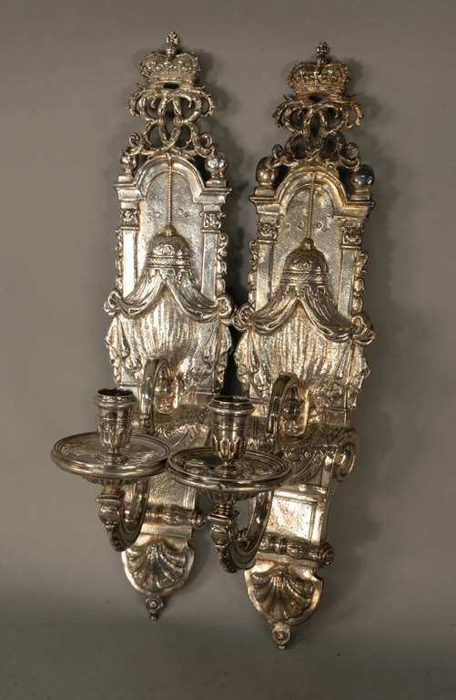 Pair of Queen Anne silver wall sconces by Anthony Nelme