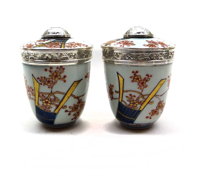 Pair of Regence silver mounted Japanese Imari porcelain pots and covers | MasterArt