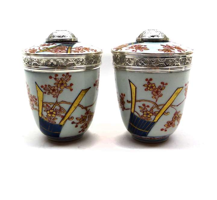 Pair of Regence silver mounted Japanese Imari porcelain pots and covers