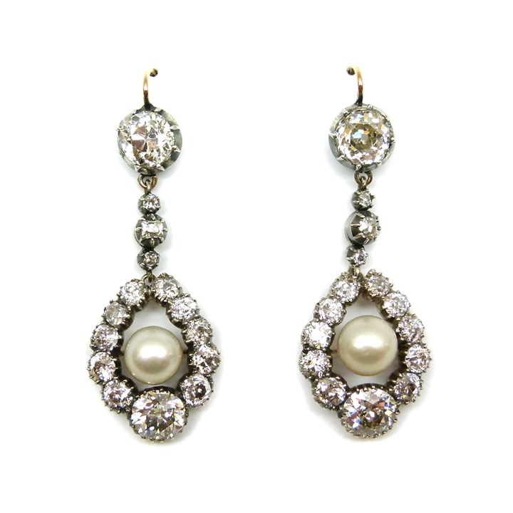 Pair of Victorian diamond and pearl pendant earrings