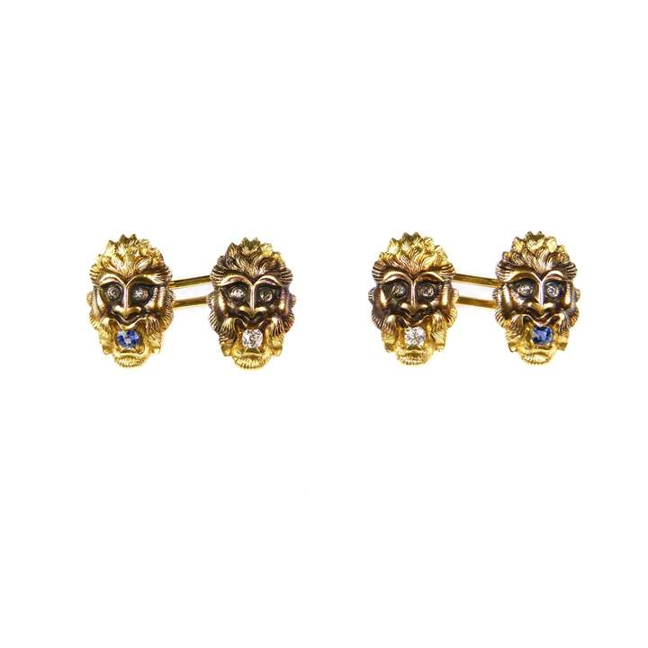 Pair of antique 14ct gold, diamond and sapphire mask cufflinks