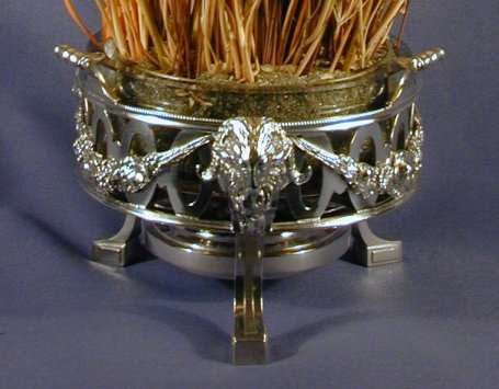 Pair of antique Belgian silver braziers.