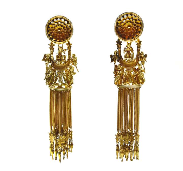 "Pair of antique Etruscan style ""Campana"" sun-chariot crescent gold earrings"