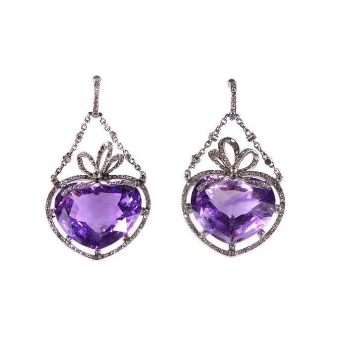Pair of antique amethyst and diamond cluster heart pendant earrings | MasterArt