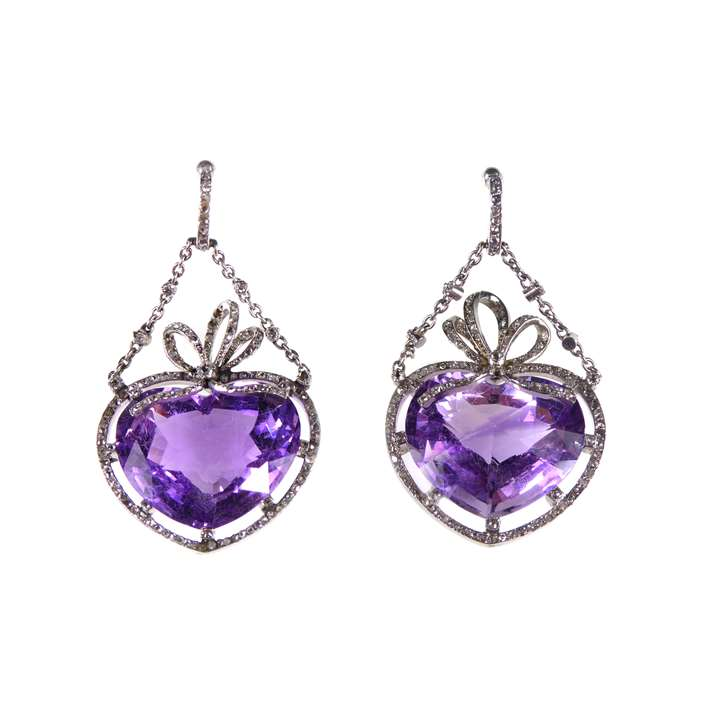 Pair of antique amethyst and diamond cluster heart pendant earrings