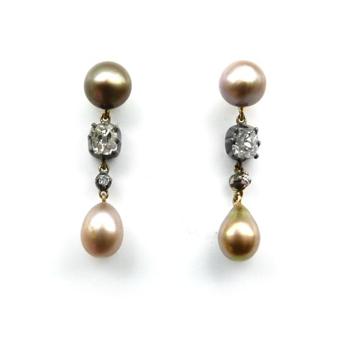 Pair of antique coloured pearl drop and diamond earrings. | MasterArt