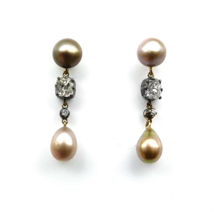 Pair of antique coloured pearl drop and diamond earrings.