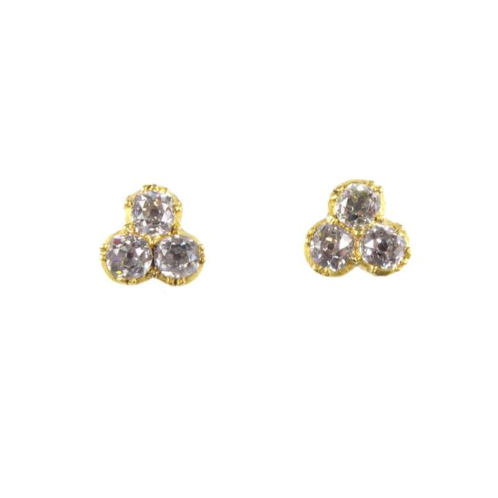Pair of antique cushion diamond trefoil cluster stud earrings