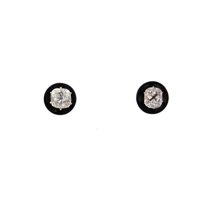 Pair of antique diamond and onyx stud earrings