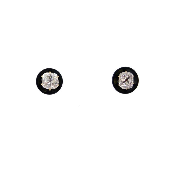 Pair of antique diamond and onyx stud earrings | MasterArt