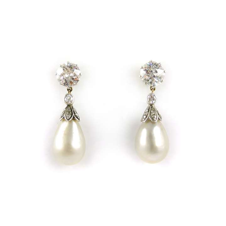 Pair of antique drop pearl and diamond pendant earrings