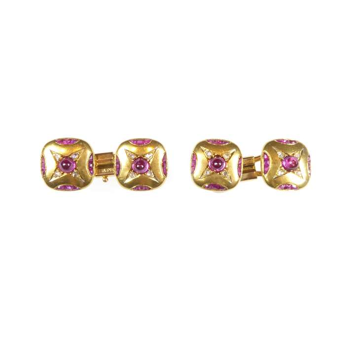 Pair of antique gold, cabochon ruby and diamond cushion panel cufflinks