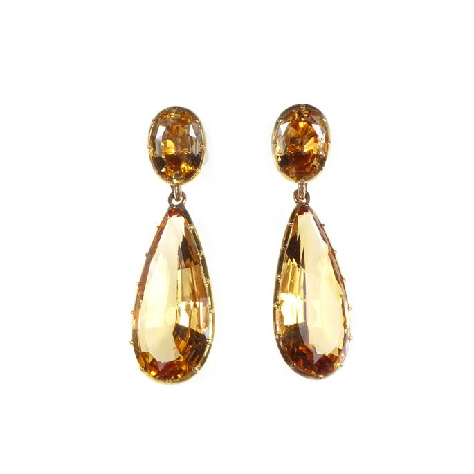 Pair of antique golden topaz drop pendant earrings, formerly belonging to Gloria, the late Dowager Countess Bathurst, | MasterArt