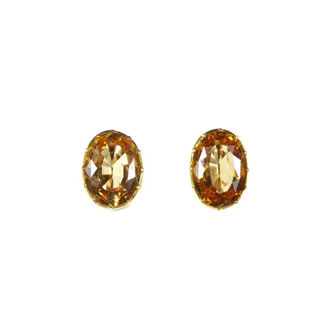 Pair of antique golden topaz single stone collet earrings, formerly belonging to Gloria, the late Dowager Countess Bathurst, | MasterArt