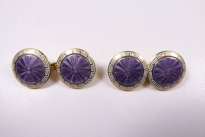 Pair of antique lilac and white enamel circular panel cufflinks, close set in 18ct yellow gold. | MasterArt