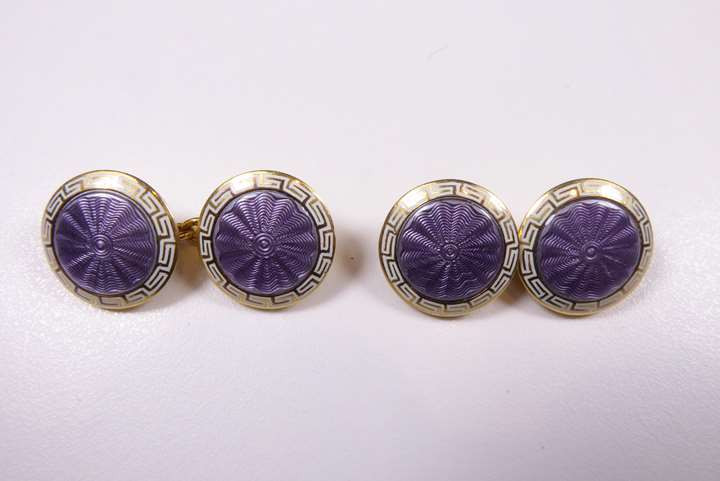 Pair of antique lilac and white enamel circular panel cufflinks, close set in 18ct yellow gold.