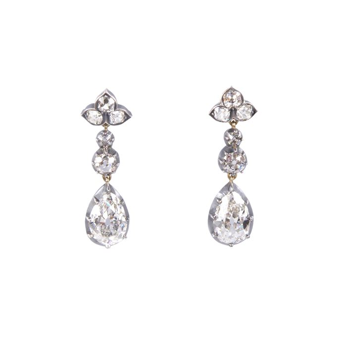 Pair of antique pear shape diamond pendant earrings | MasterArt