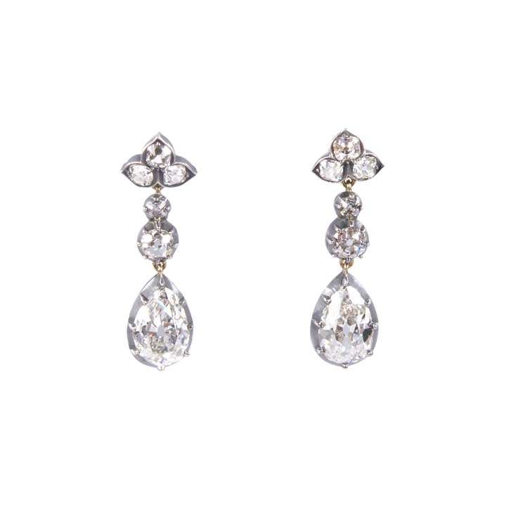 Pair of antique pear shape diamond pendant earrings