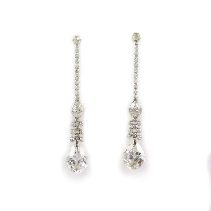 Pair of antique pear shaped diamond and diamond line pendant earrings with principal diamond drops 4.98ct E VS2 and 4.60ct H VS2