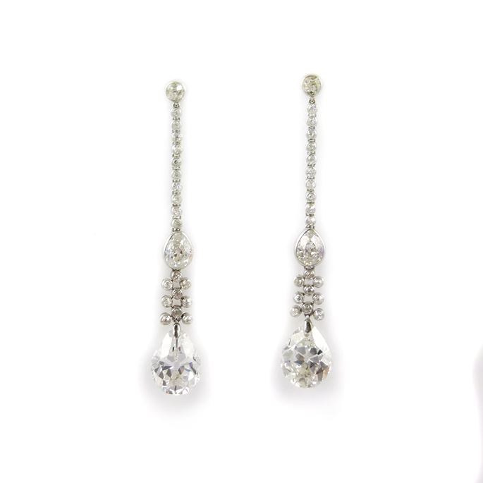 Pair of antique pear shaped diamond and diamond line pendant earrings | MasterArt