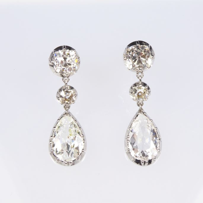 Pair of antique pear shaped diamond and platinum pendant earrings, cut-down collet set | MasterArt