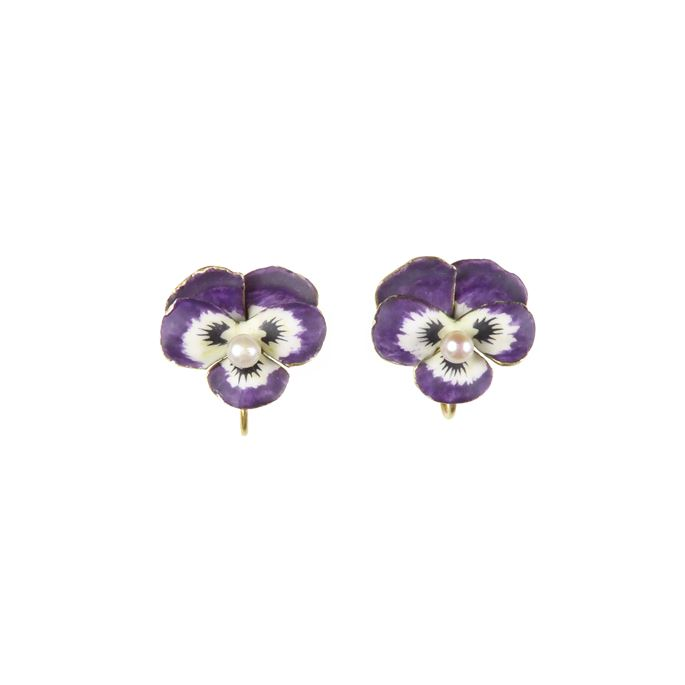Pair of antique purple enamel and pearl pansy earrings | MasterArt