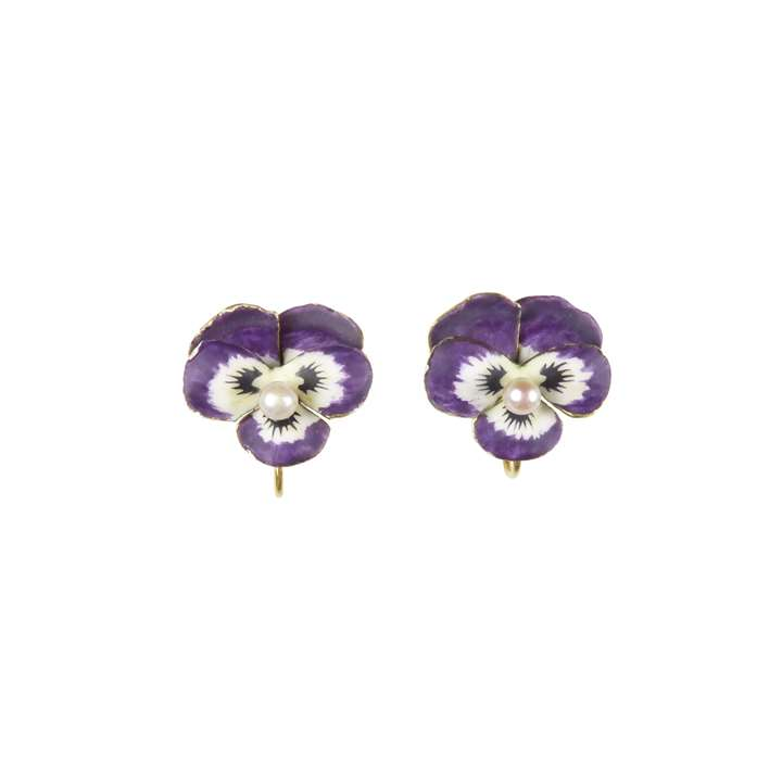 Pair of antique purple enamel and pearl pansy earrings
