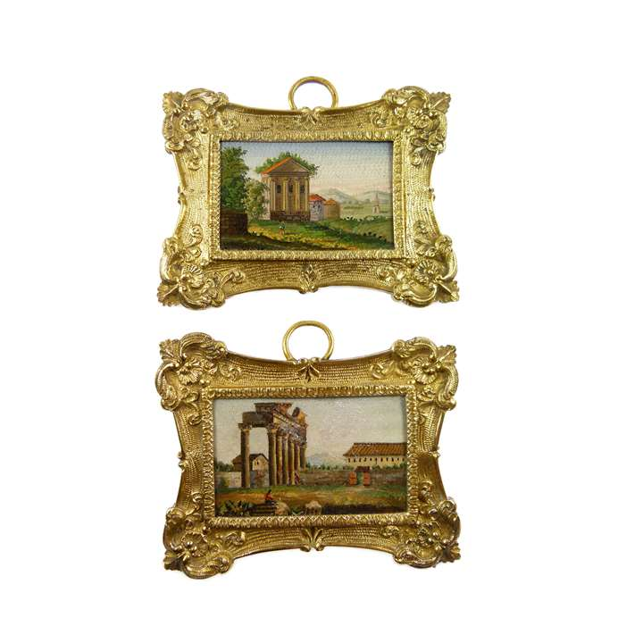 Pair of antique rectangular micromosaic panels with classical landscapes