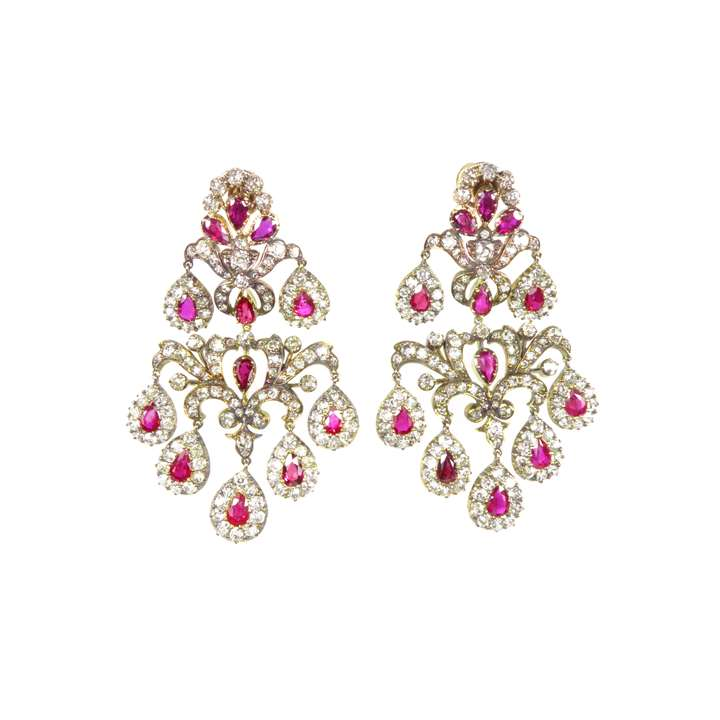 Pair of antique ruby and diamond foliate scroll chandelier pendant earrings