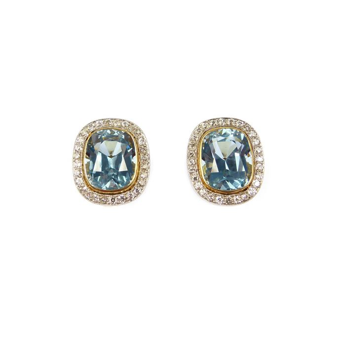 Pair of aquamarine and diamond cluster earrings | MasterArt