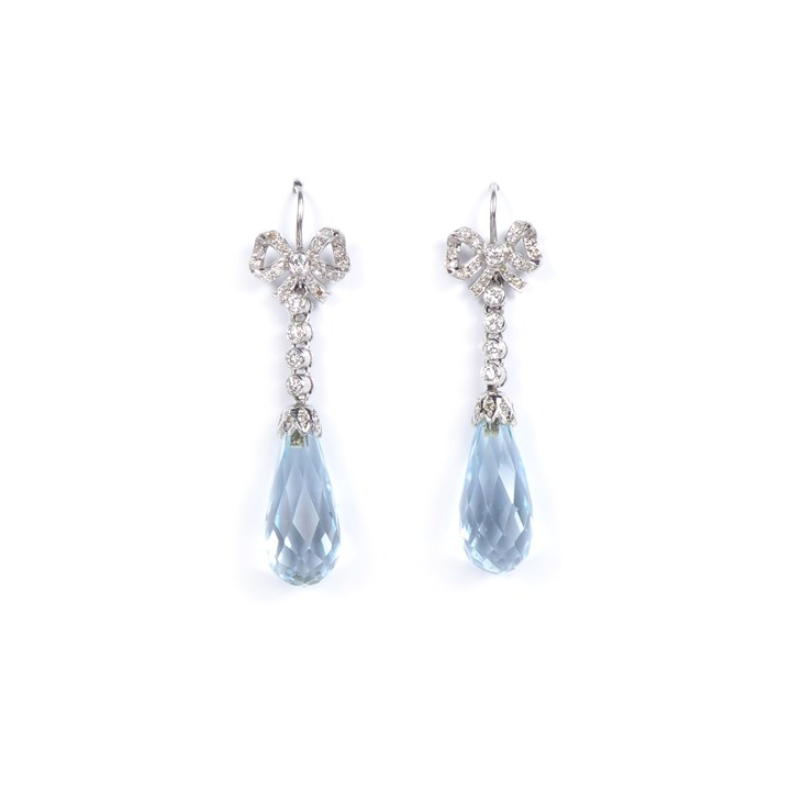 Pair of aquamarine briolette and diamond pendant earrings