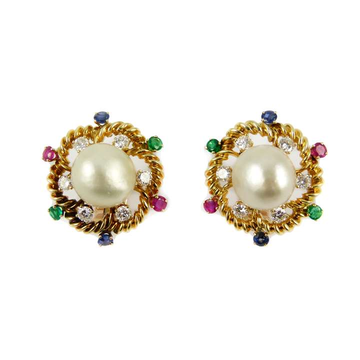 Pair of bouton pearl, gold and gem set cluster earrings