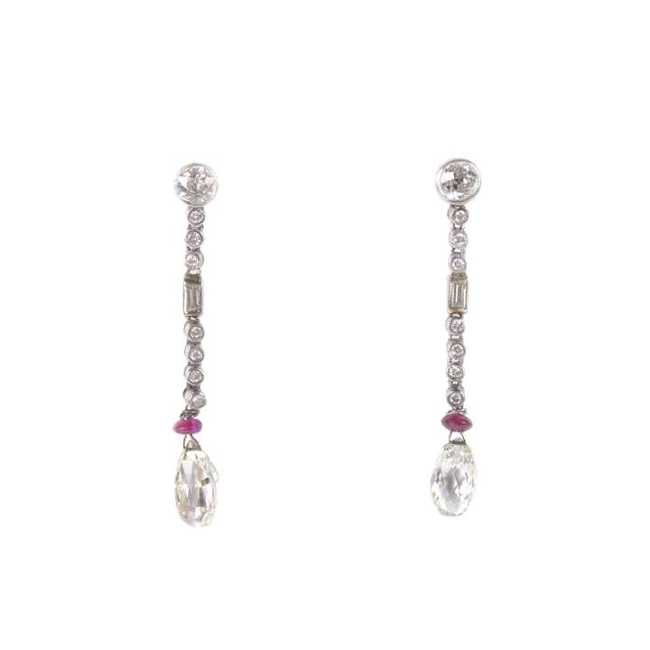 Pair of briolette diamond and ruby pendant earrings