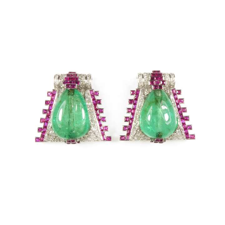 Pair of cabochon emerald, ruby and diamond clip brooches of geometric triangular design