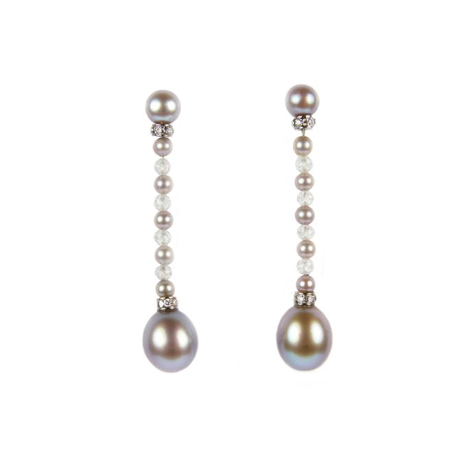 Pair of coloured pearl and diamond bead pendant earrings, each hung with an ovoid grey pearl | MasterArt
