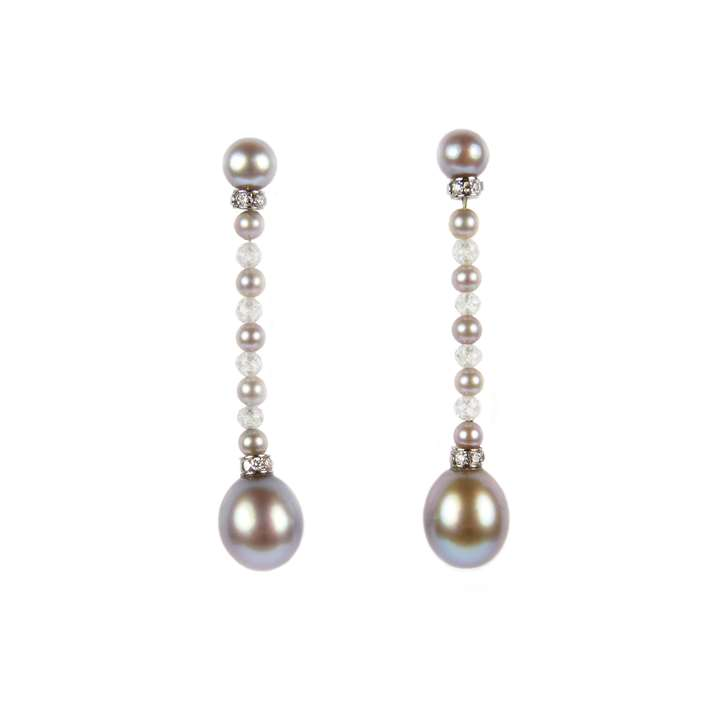 Pair of coloured pearl and diamond bead pendant earrings, each hung with an ovoid grey pearl