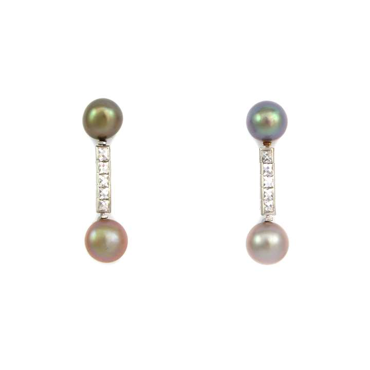 Pair of coloured pearl and diamond pendant earrings