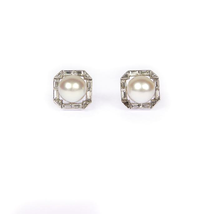 Pair of cream pearl and diamond cluster stud earrings | MasterArt